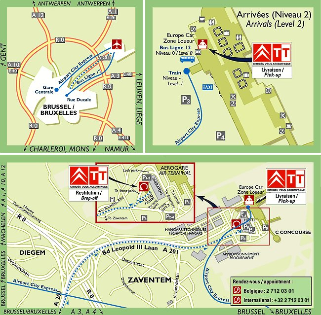 Brussels Car Lease With Citroen Leasing DriveEurope Programme For - Brussels airport map